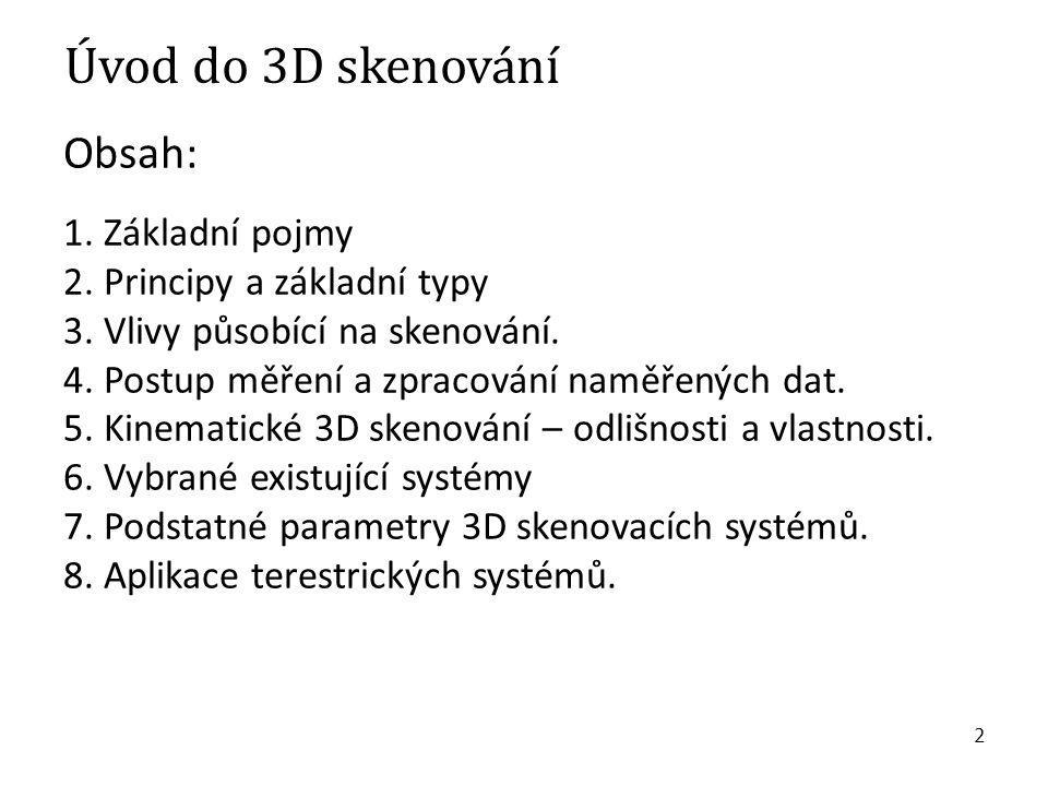 Úvod do 3D skenování Obsah: 1. Základní pojmy