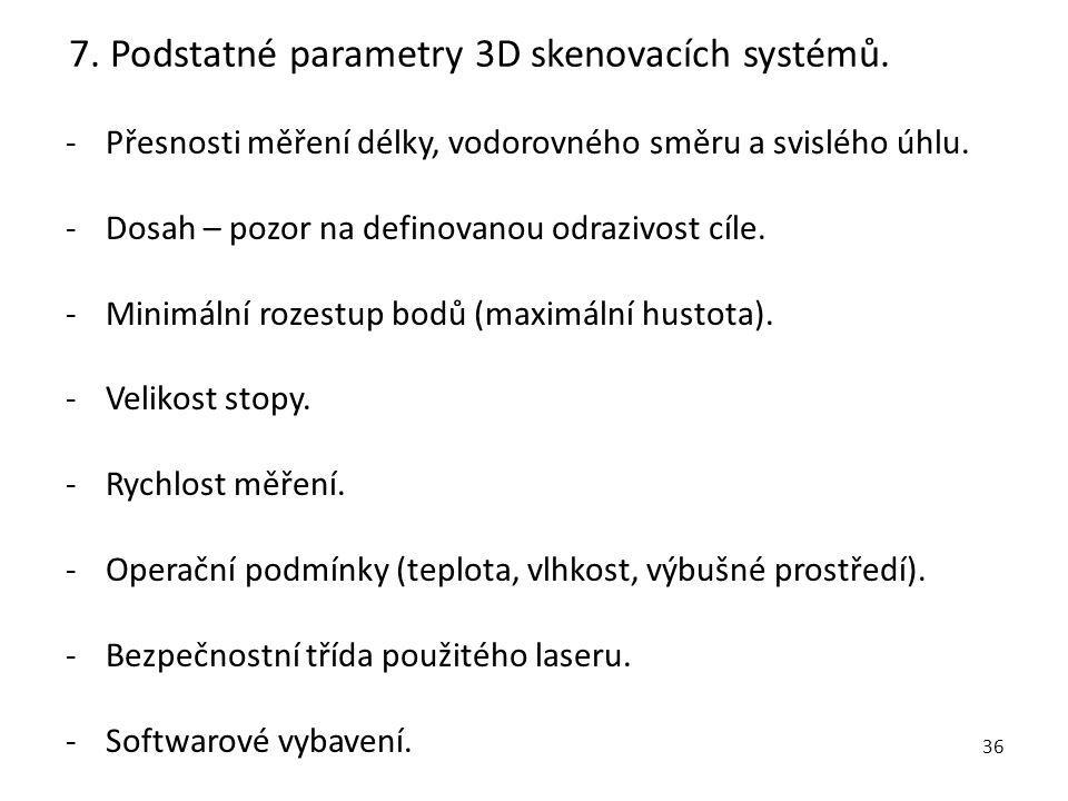 7. Podstatné parametry 3D skenovacích systémů.