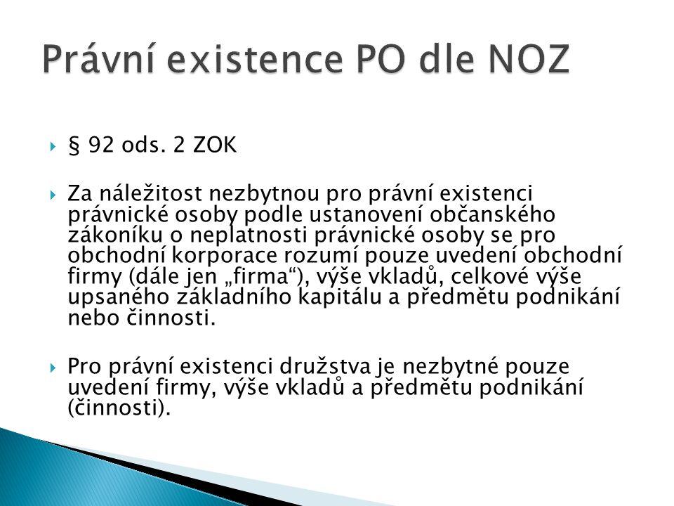 Právní existence PO dle NOZ