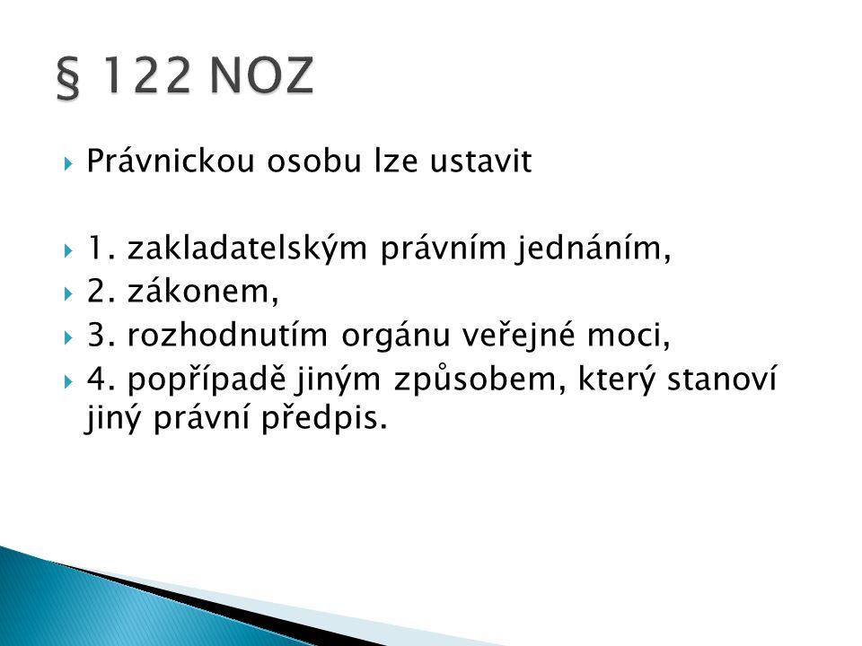 § 122 NOZ Právnickou osobu lze ustavit