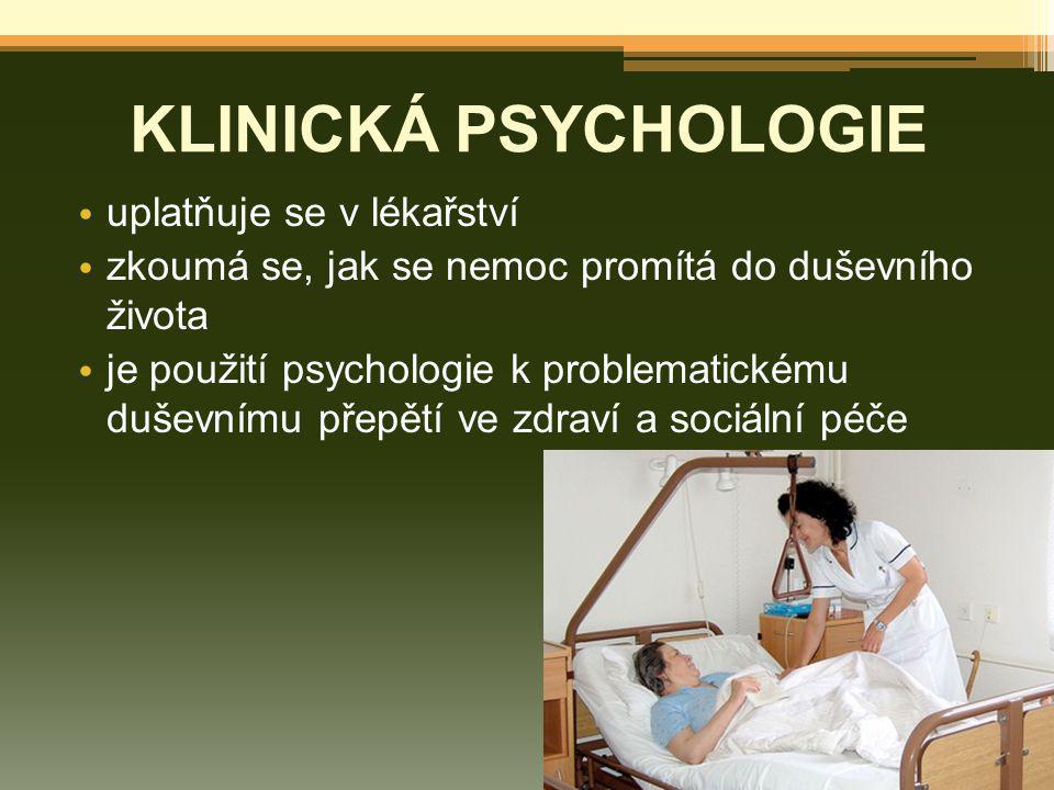KLINICKÁ PSYCHOLOGIE uplatňuje se v lékařství