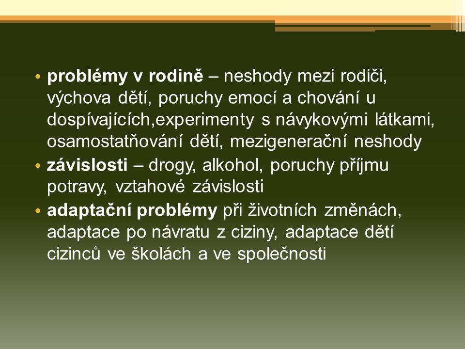 problémy v rodině – neshody mezi rodiči, výchova dětí, poruchy emocí a chování u dospívajících,experimenty s návykovými látkami, osamostatňování dětí, mezigenerační neshody