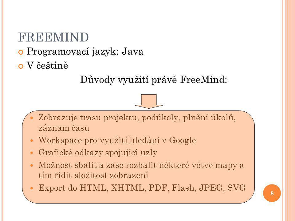 FREEMIND Programovací jazyk: Java V češtině