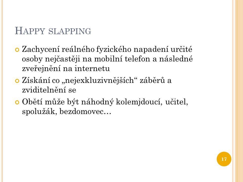Happy slapping Zachycení reálného fyzického napadení určité osoby nejčastěji na mobilní telefon a následné zveřejnění na internetu.