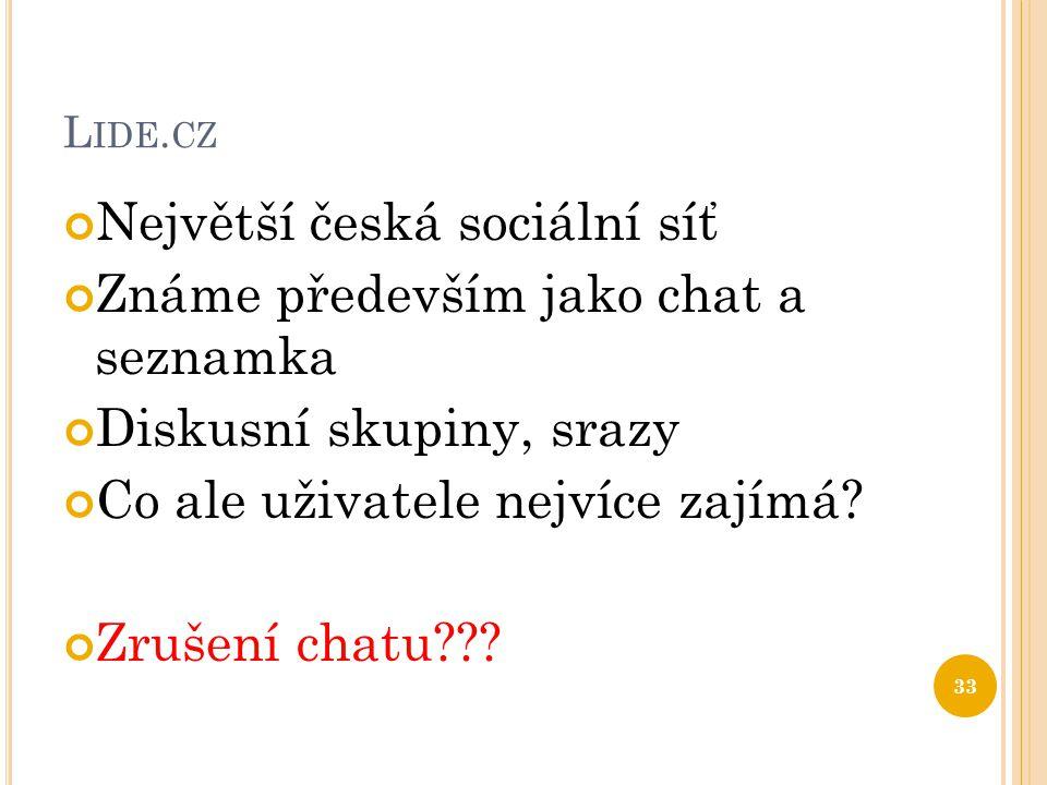 Největší česká sociální síť Známe především jako chat a seznamka