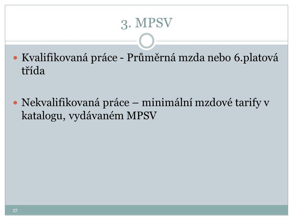 3. MPSV Kvalifikovaná práce - Průměrná mzda nebo 6.platová třída