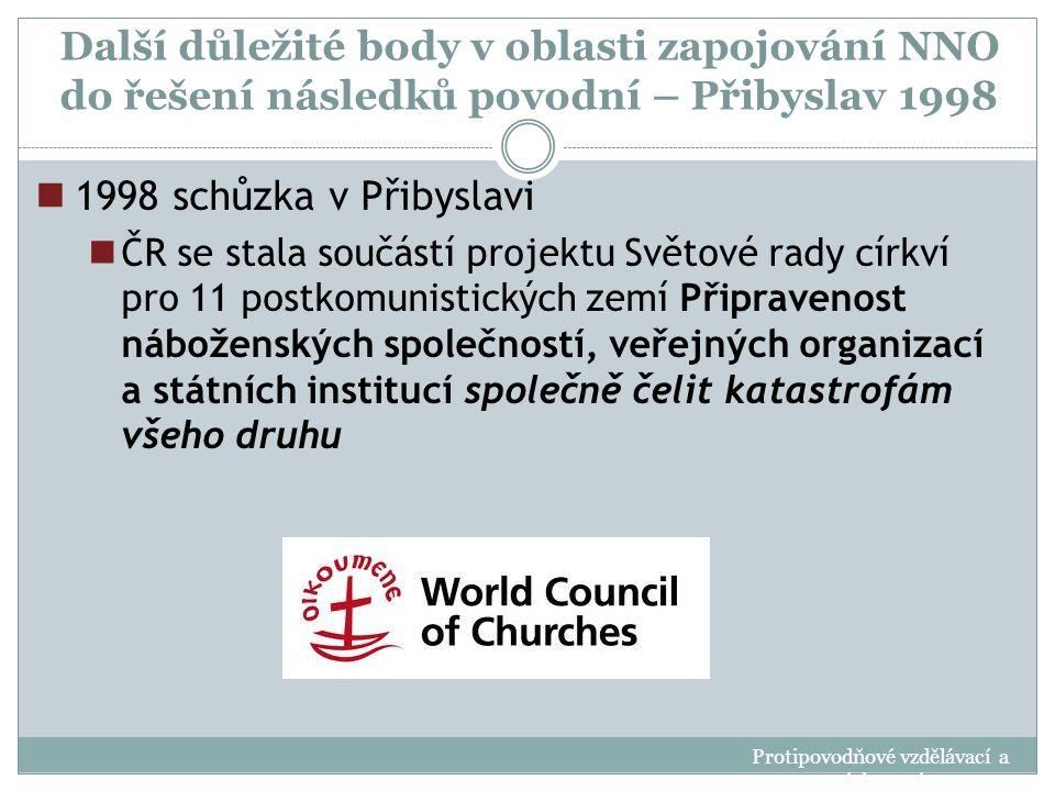 Další důležité body v oblasti zapojování NNO do řešení následků povodní – Přibyslav 1998