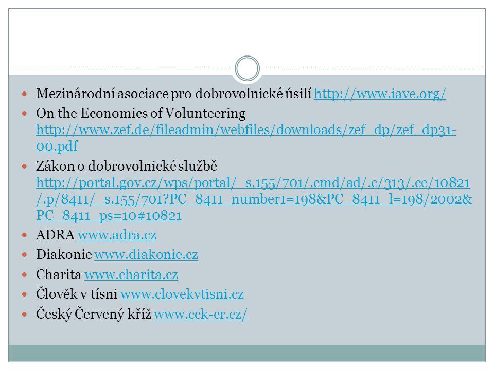 Mezinárodní asociace pro dobrovolnické úsilí http://www.iave.org/