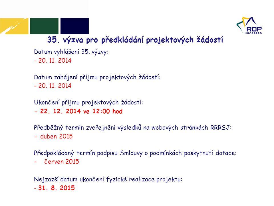 35. výzva pro předkládání projektových žádostí