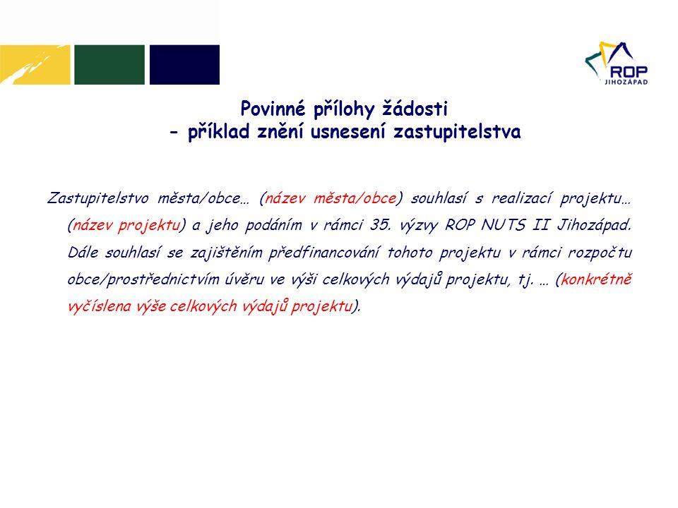 Povinné přílohy žádosti - příklad znění usnesení zastupitelstva