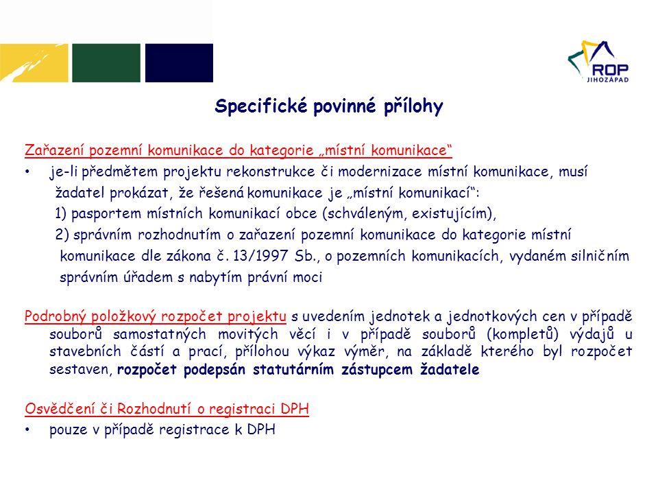 Specifické povinné přílohy