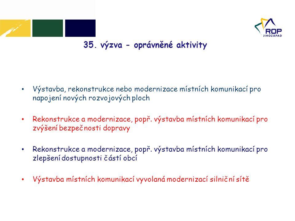 35. výzva - oprávněné aktivity