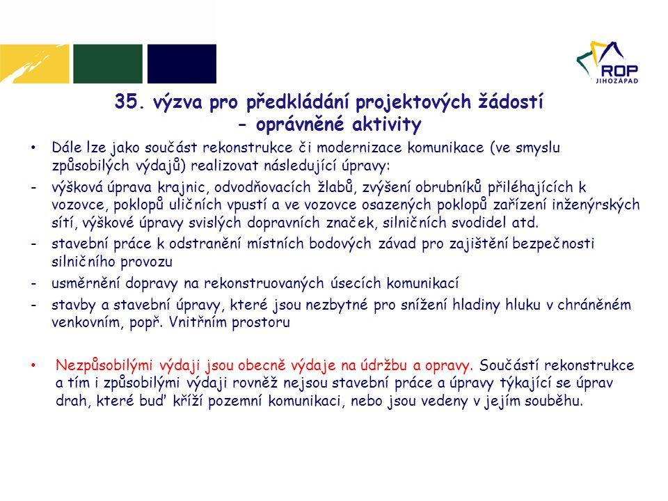 35. výzva pro předkládání projektových žádostí - oprávněné aktivity