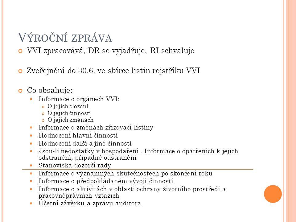 Výroční zpráva VVI zpracovává, DR se vyjadřuje, RI schvaluje