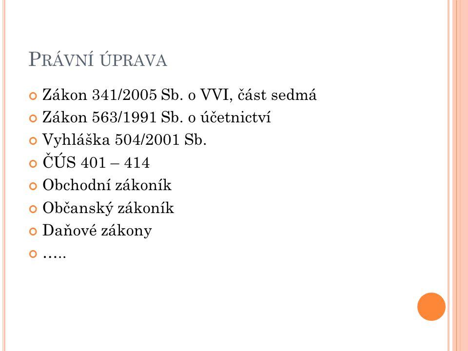 Právní úprava Zákon 341/2005 Sb. o VVI, část sedmá