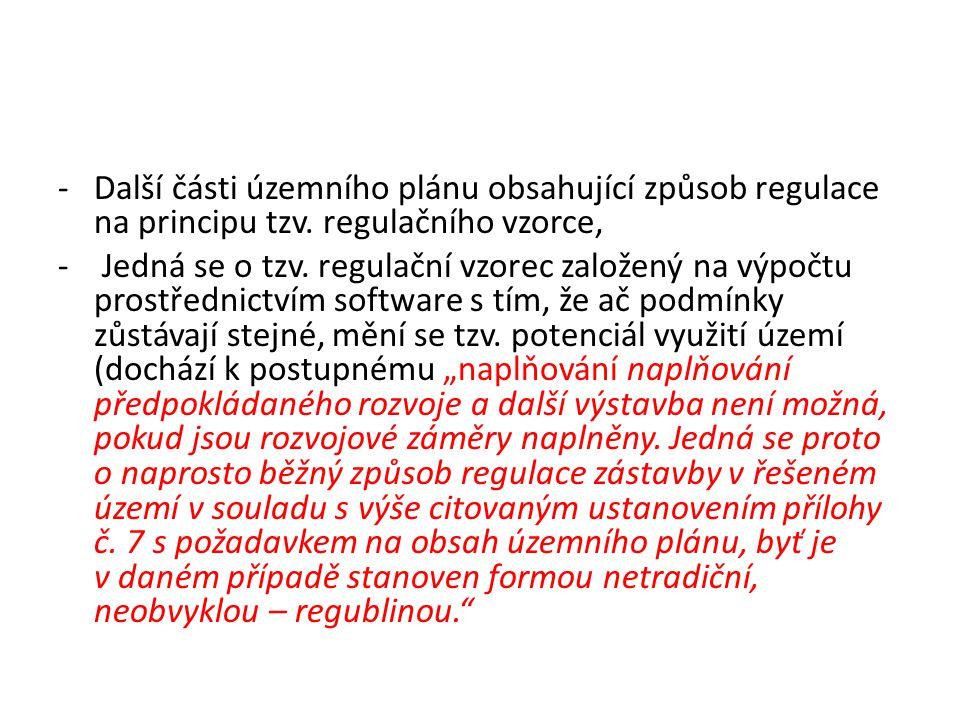 Další části územního plánu obsahující způsob regulace na principu tzv