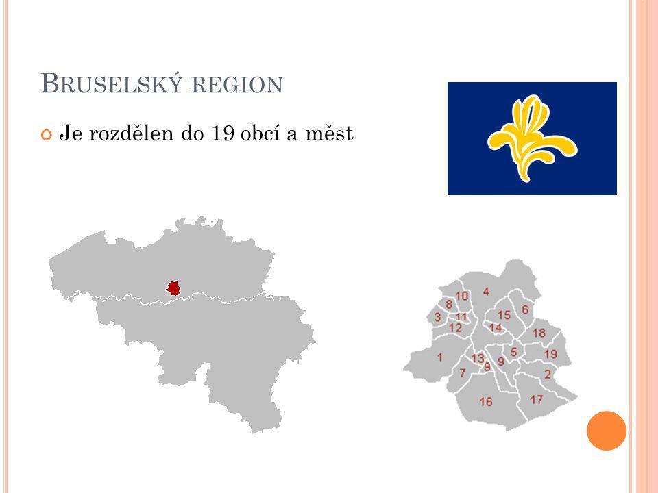 Bruselský region Je rozdělen do 19 obcí a měst