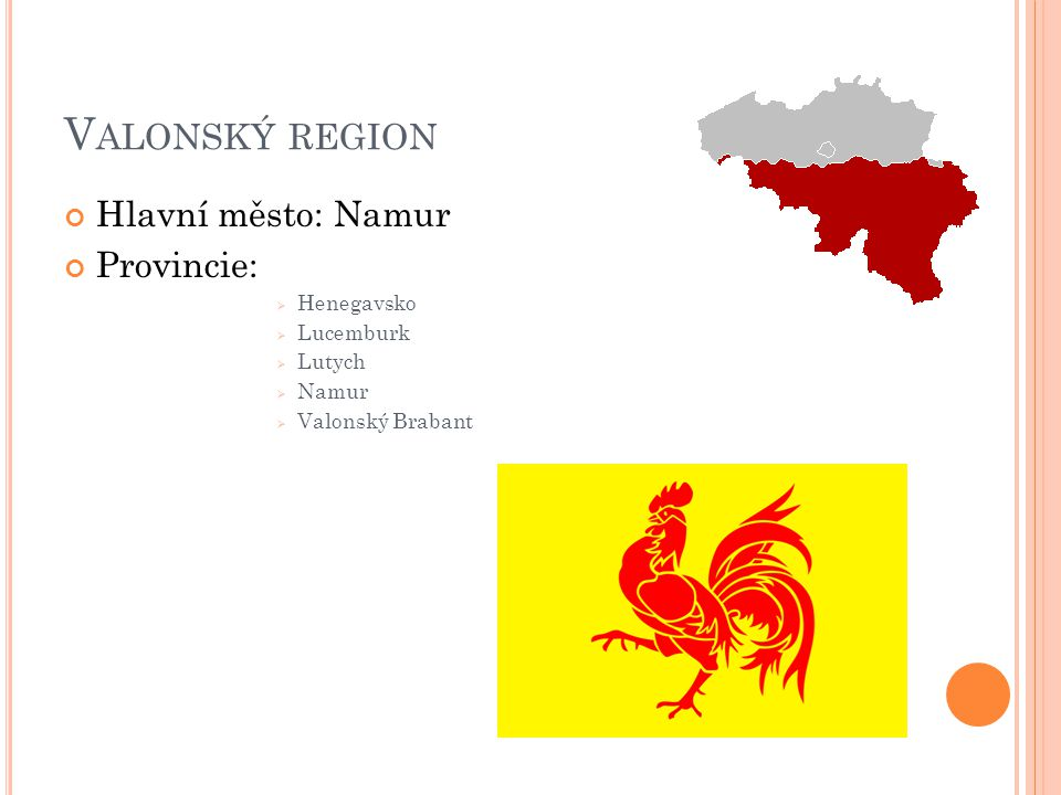 Valonský region Hlavní město: Namur Provincie: Henegavsko Lucemburk