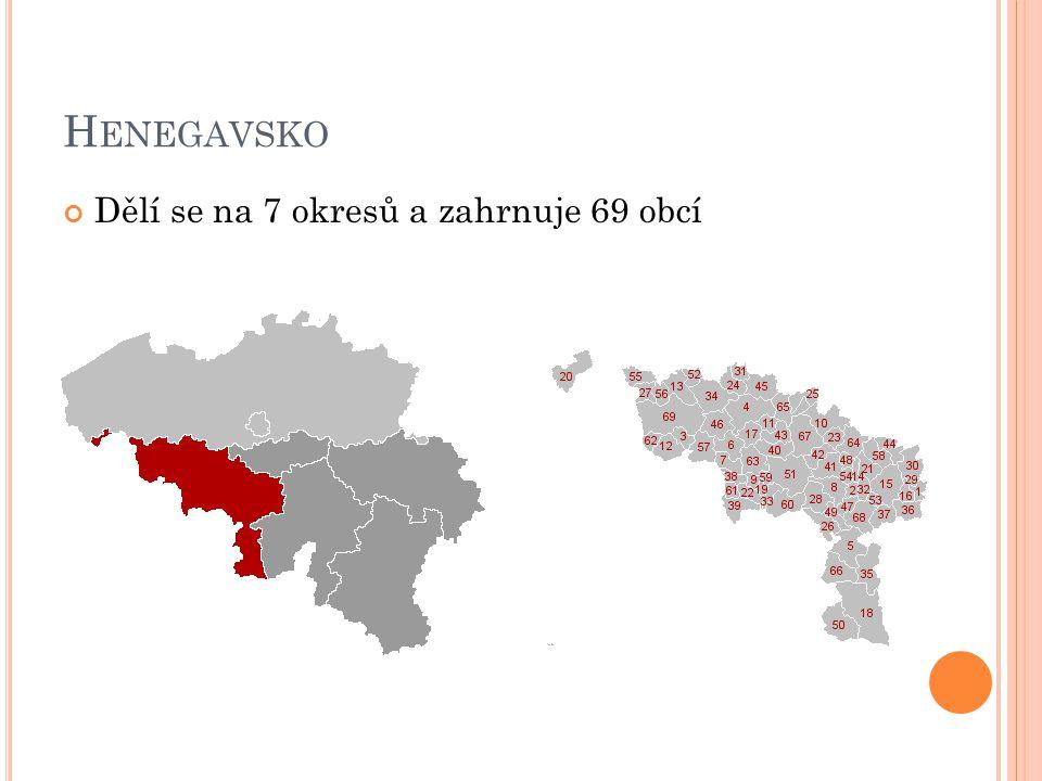 Henegavsko Dělí se na 7 okresů a zahrnuje 69 obcí