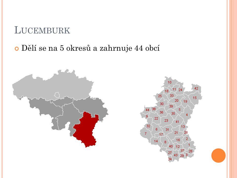 Lucemburk Dělí se na 5 okresů a zahrnuje 44 obcí