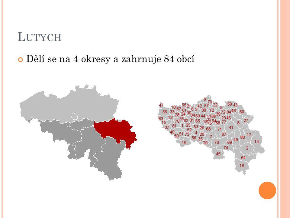Lutych Dělí se na 4 okresy a zahrnuje 84 obcí