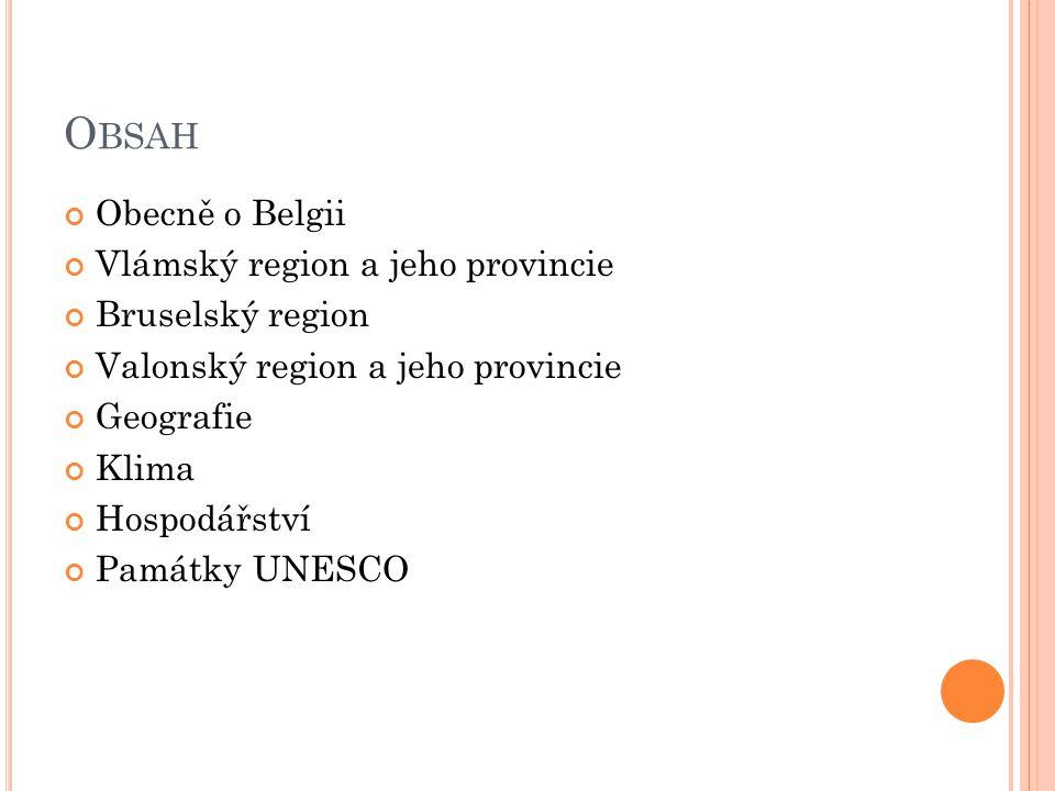 Obsah Obecně o Belgii Vlámský region a jeho provincie Bruselský region