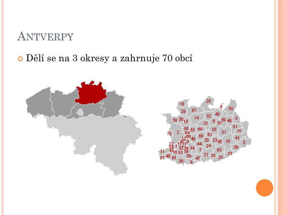 Antverpy Dělí se na 3 okresy a zahrnuje 70 obcí