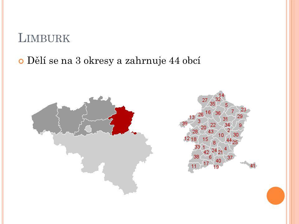 Limburk Dělí se na 3 okresy a zahrnuje 44 obcí
