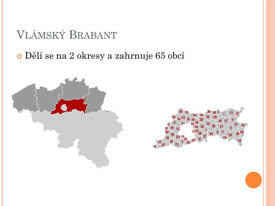 Vlámský Brabant Dělí se na 2 okresy a zahrnuje 65 obcí