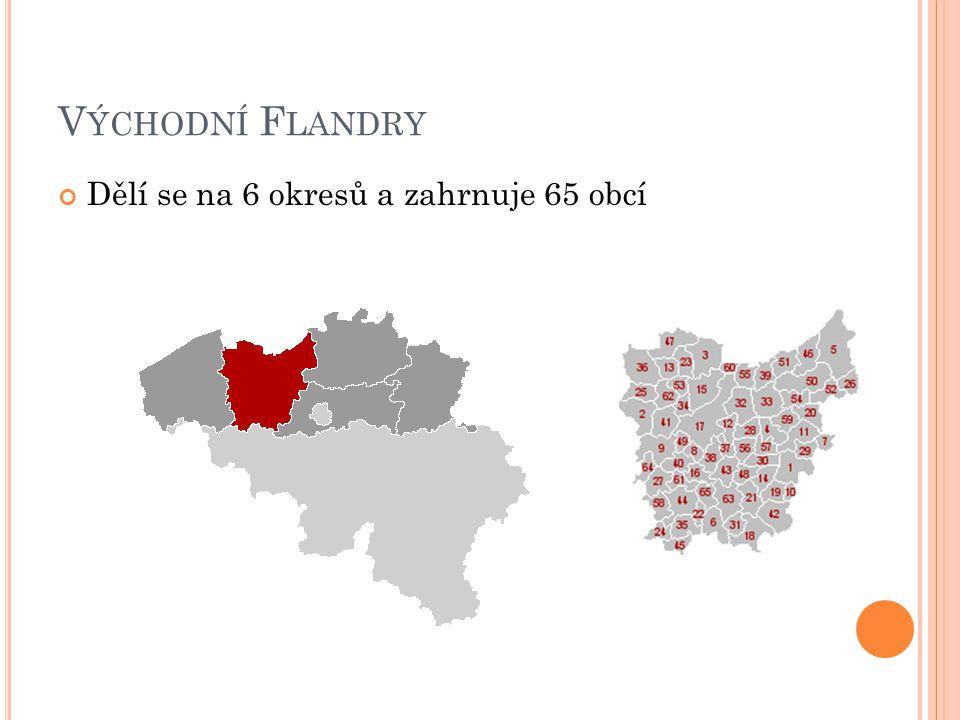 Východní Flandry Dělí se na 6 okresů a zahrnuje 65 obcí