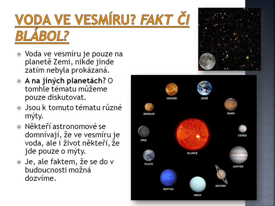 Voda ve vesmíru Fakt či blábol