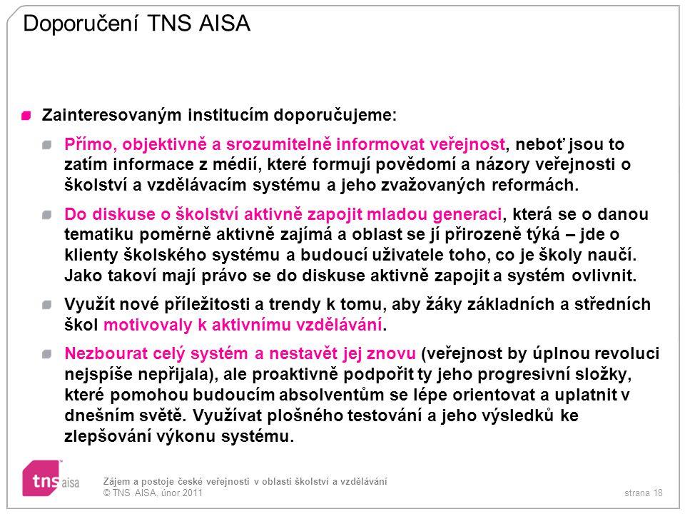 Doporučení TNS AISA Zainteresovaným institucím doporučujeme: