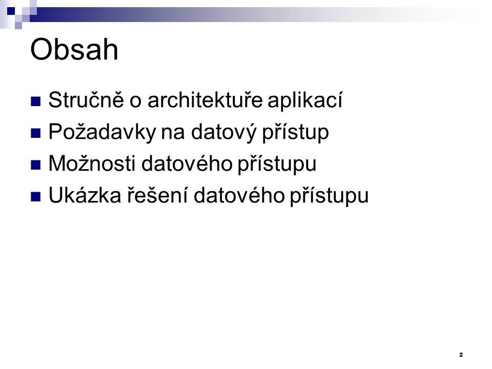 Obsah Stručně o architektuře aplikací Požadavky na datový přístup