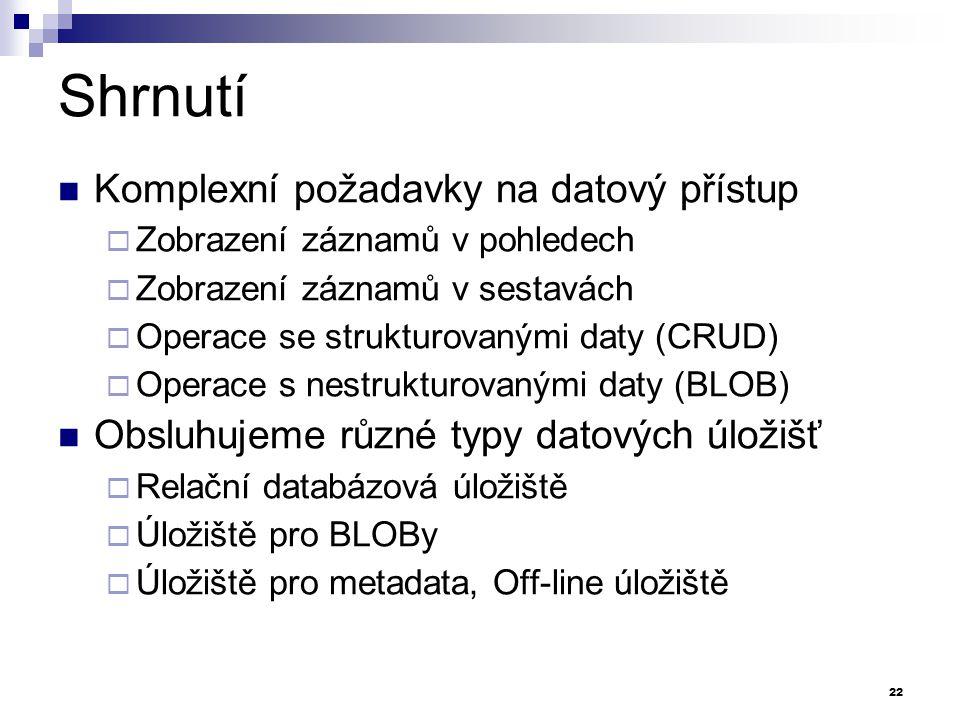 Shrnutí Komplexní požadavky na datový přístup