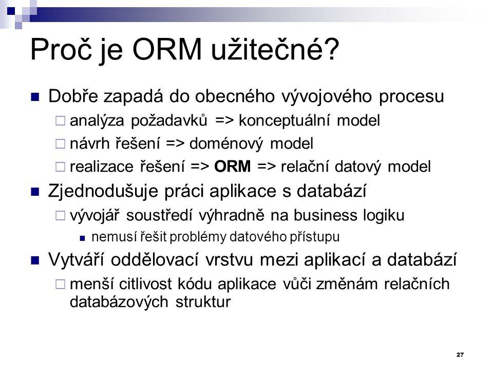 Proč je ORM užitečné Dobře zapadá do obecného vývojového procesu