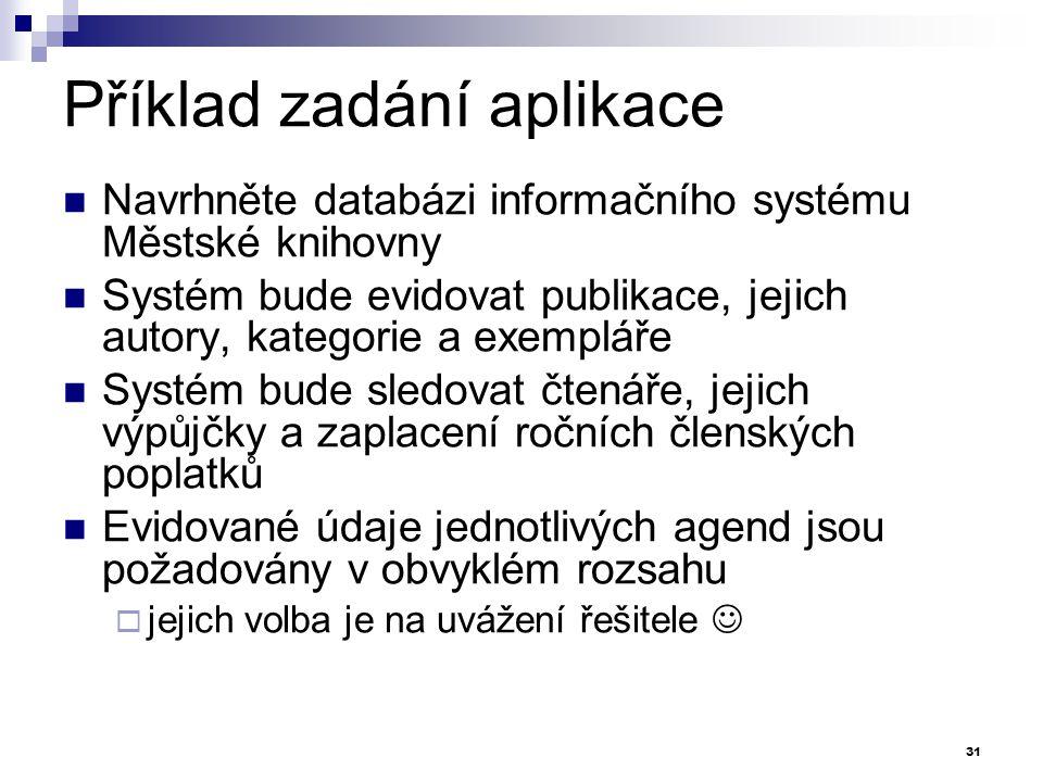 Příklad zadání aplikace