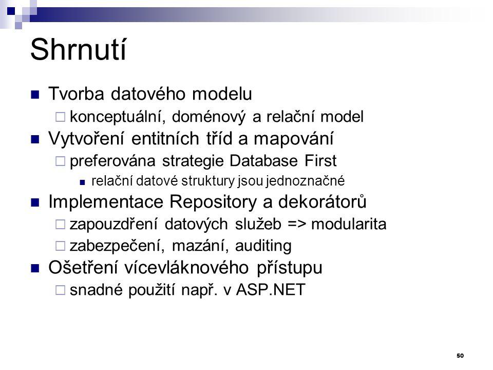Shrnutí Tvorba datového modelu Vytvoření entitních tříd a mapování