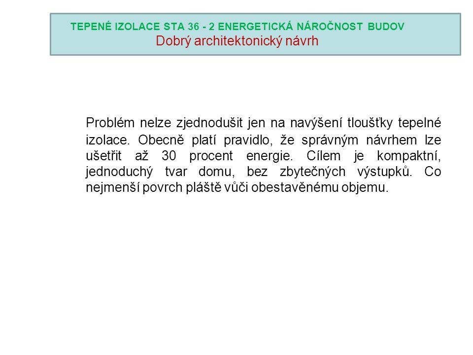 TEPENÉ IZOLACE STA 36 - 2 ENERGETICKÁ NÁROČNOST BUDOV Dobrý architektonický návrh
