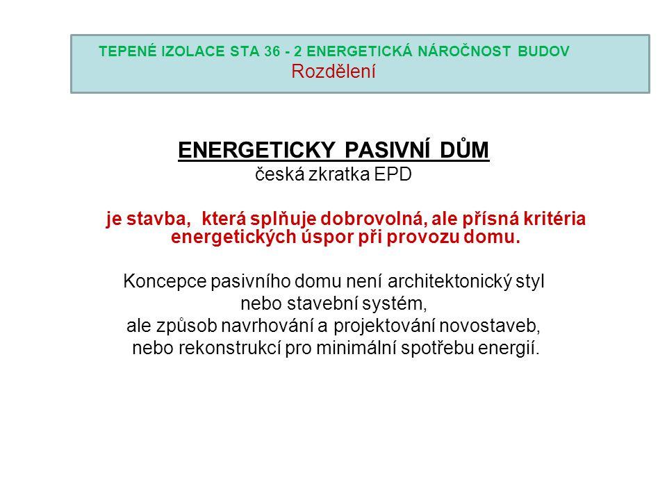 TEPENÉ IZOLACE STA 36 - 2 ENERGETICKÁ NÁROČNOST BUDOV Rozdělení