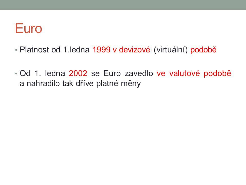Euro Platnost od 1.ledna 1999 v devizové (virtuální) podobě