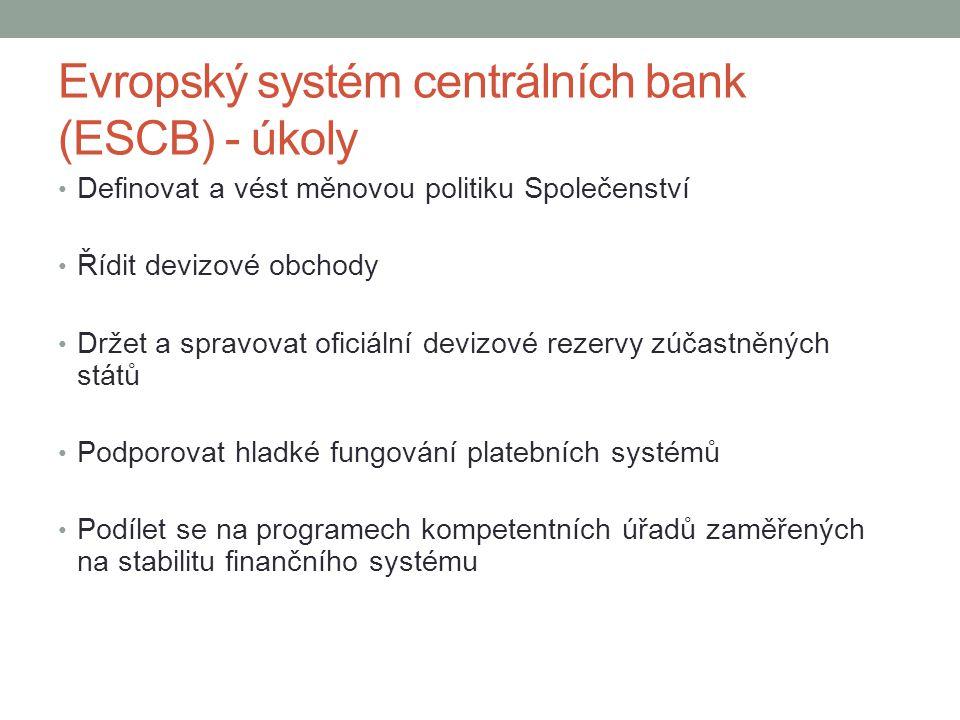 Evropský systém centrálních bank (ESCB) - úkoly