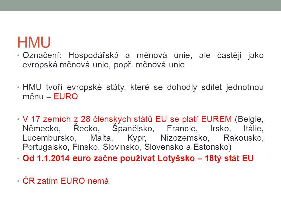 HMU Označení: Hospodářská a měnová unie, ale častěji jako evropská měnová unie, popř. měnová unie.