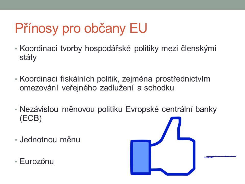 Přínosy pro občany EU Koordinaci tvorby hospodářské politiky mezi členskými státy.