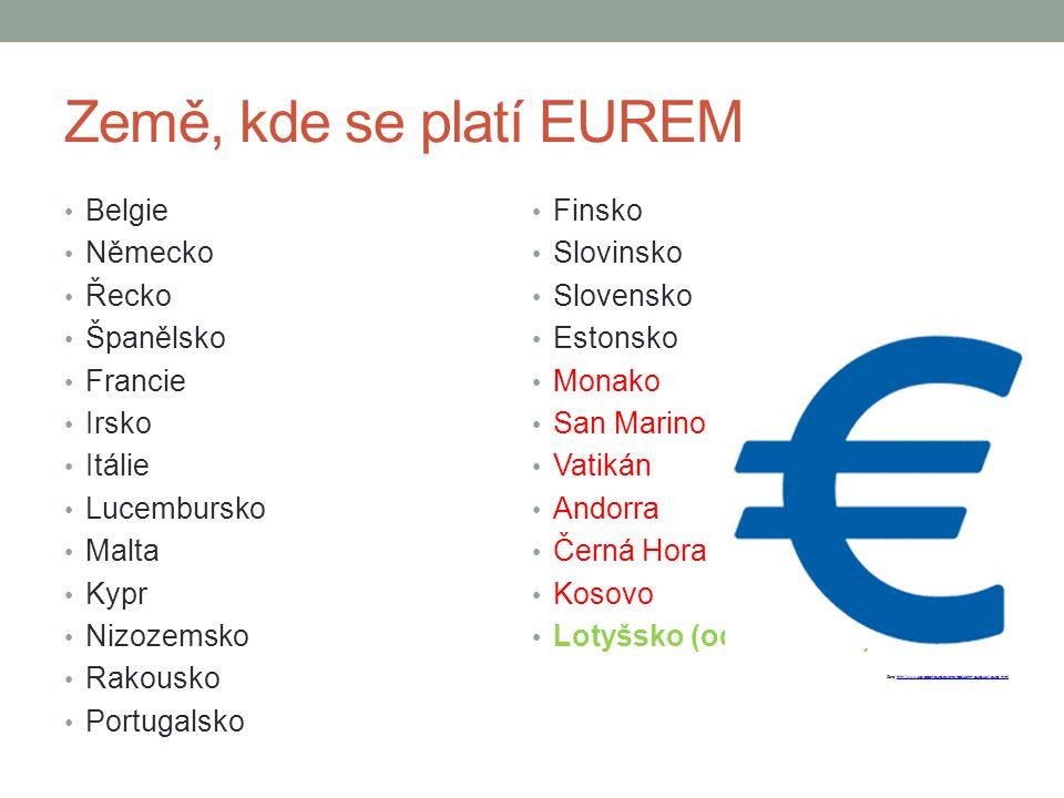 Země, kde se platí EUREM Belgie Finsko Německo Slovinsko Řecko