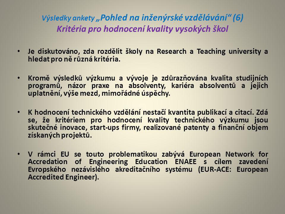 """Výsledky ankety """"Pohled na inženýrské vzdělávání (6) Kritéria pro hodnocení kvality vysokých škol"""