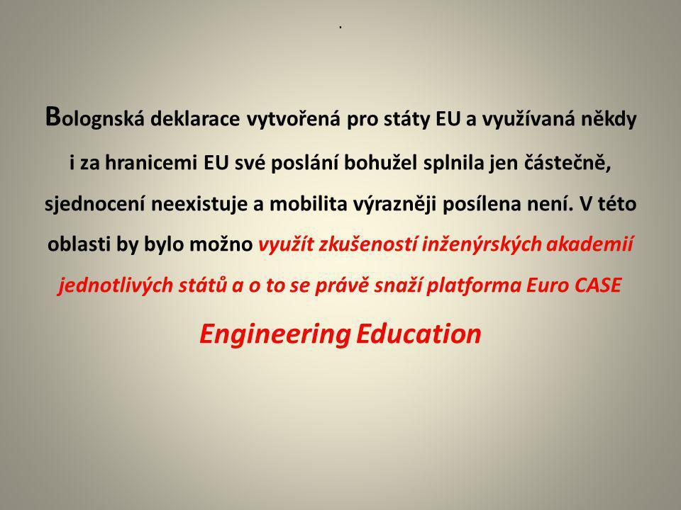 Bolognská deklarace vytvořená pro státy EU a využívaná někdy i za hranicemi EU své poslání bohužel splnila jen částečně, sjednocení neexistuje a mobilita výrazněji posílena není. V této oblasti by bylo možno využít zkušeností inženýrských akademií jednotlivých států a o to se právě snaží platforma Euro CASE Engineering Education