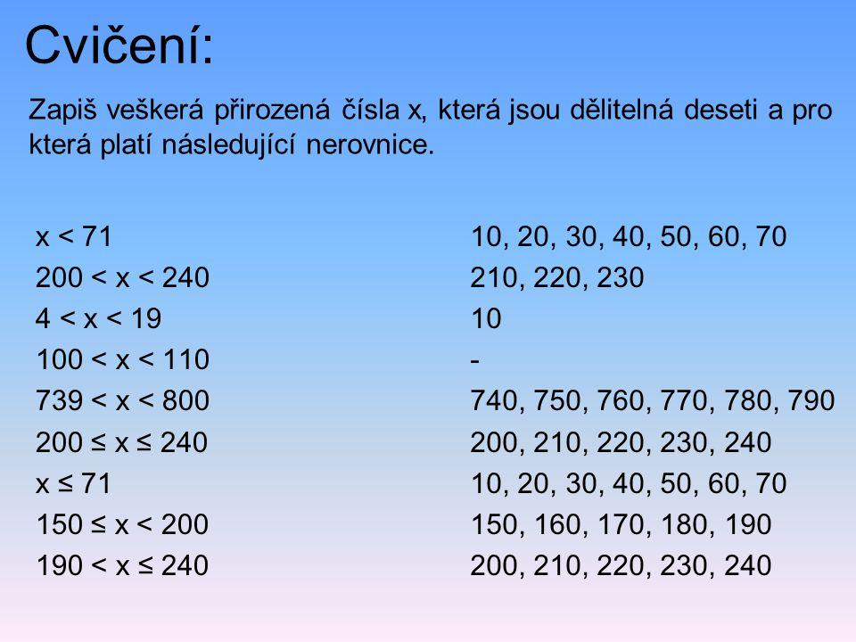 Cvičení: Zapiš veškerá přirozená čísla x, která jsou dělitelná deseti a pro která platí následující nerovnice.