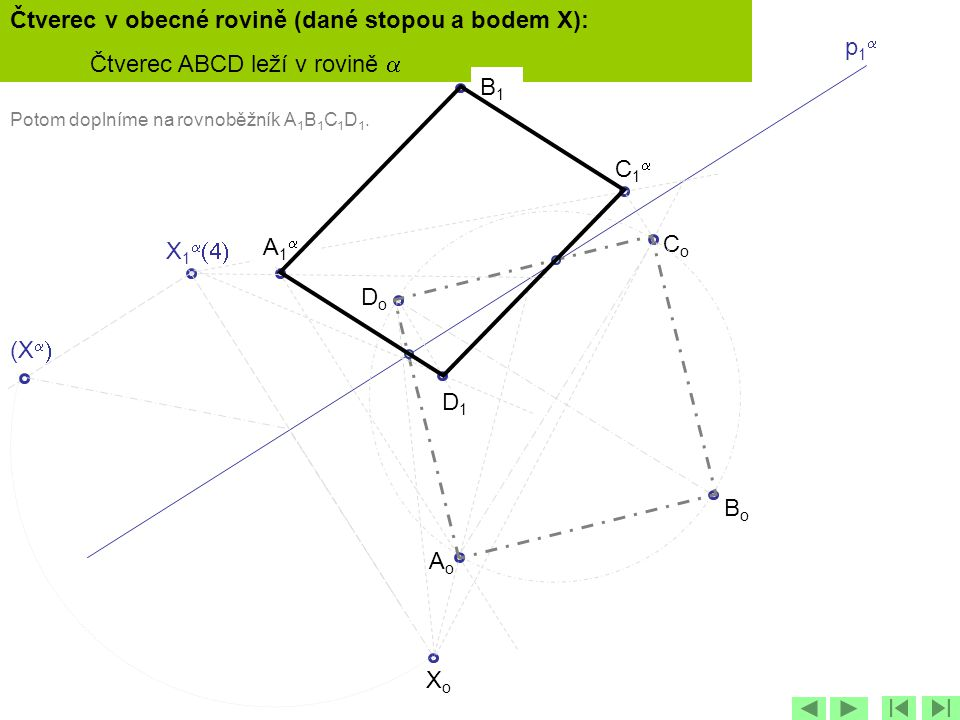 Čtverec v obecné rovině (dané stopou a bodem X):