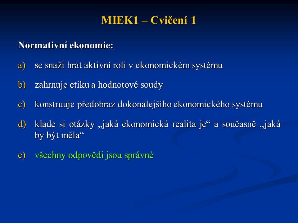MIEK1 – Cvičení 1 Normativní ekonomie: