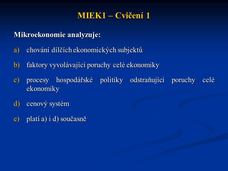 MIEK1 – Cvičení 1 Mikroekonomie analyzuje: